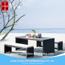 Outdoor Furniture rattan cube 2 bench and glass top table furniture