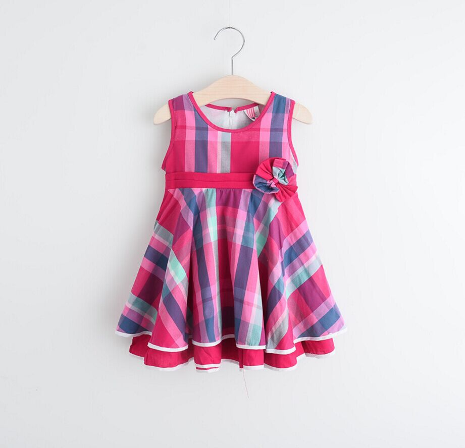 2016 autumn new model baby girls dress designs grid cotton frock