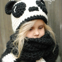 Children hand-woven wool cap cartoon panda scarf hat one piece suit