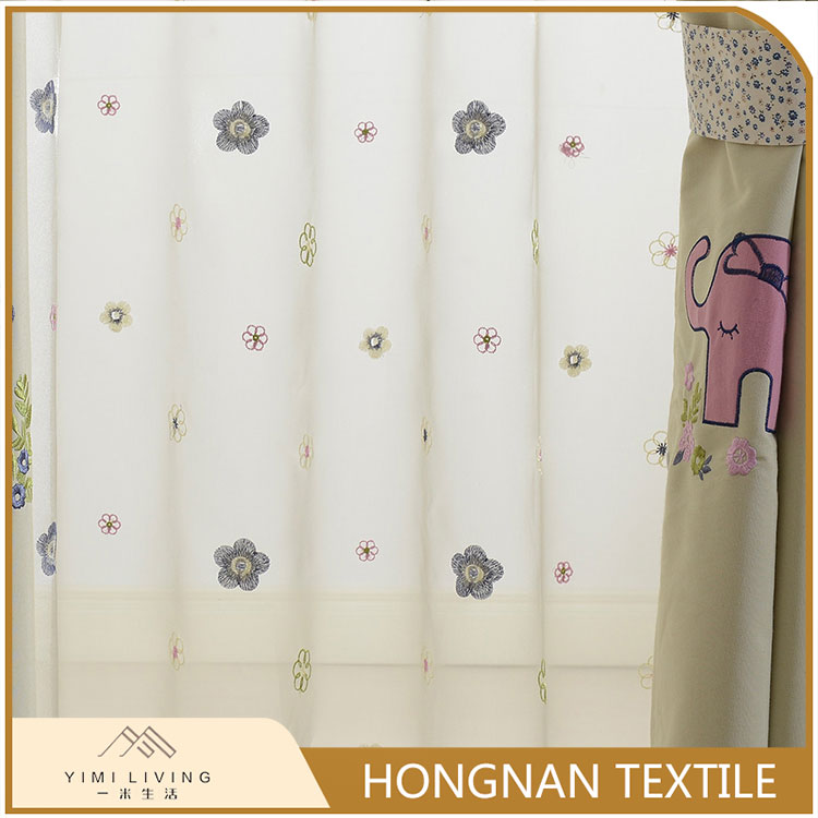 OEM elegant beautiful floral sheer embroidery curtain fabric