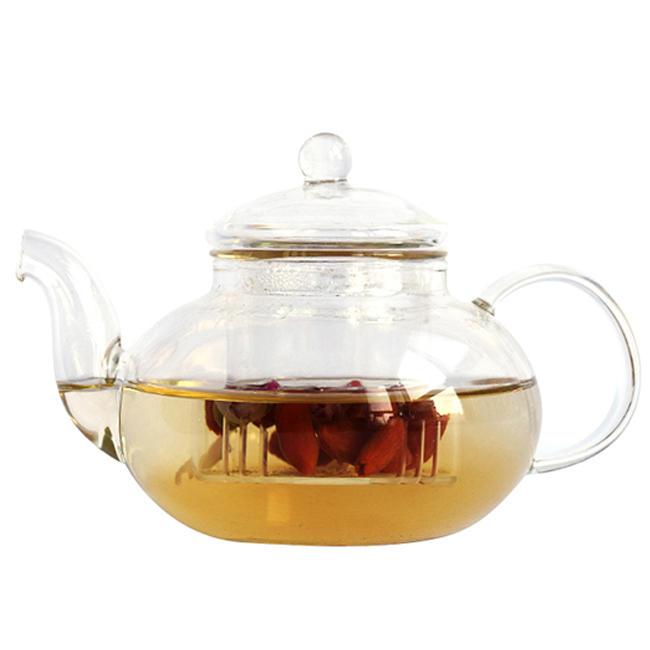 Hot selling 600ml small pyrex glass teapot with strainer flower pot tea pot with infuser