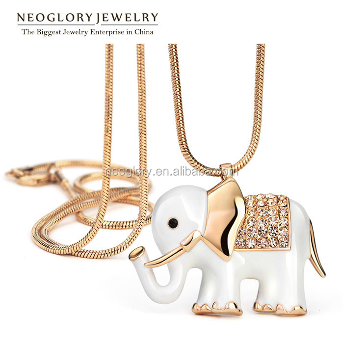 Neoglory Auden Rhinestone Animal Design Long Pendant Chain Necklaces for Women Enamel Rose Gold Plated