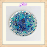 10 Inch Mosaic Design Square Shape Shell Wedding and Home Centerpieces Tempered Glass Piece Mirror Mosaic Plate