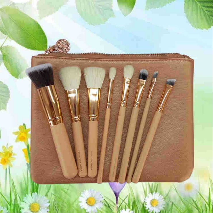 <strong>beauty</strong> needs your own 8pcs makeup brush black/rose gold makeup brushes set with pouch