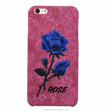 2016 New Style High Quality PU Pink Rose Embroidery Phone Case / Back Cover Housing Shell for iPhone 6 Plus
