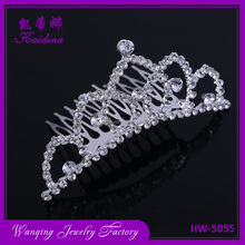Big wedding bridal crystal tiara crown, China factory price rhinestone tiara hair crown, Cheap pageant tiara
