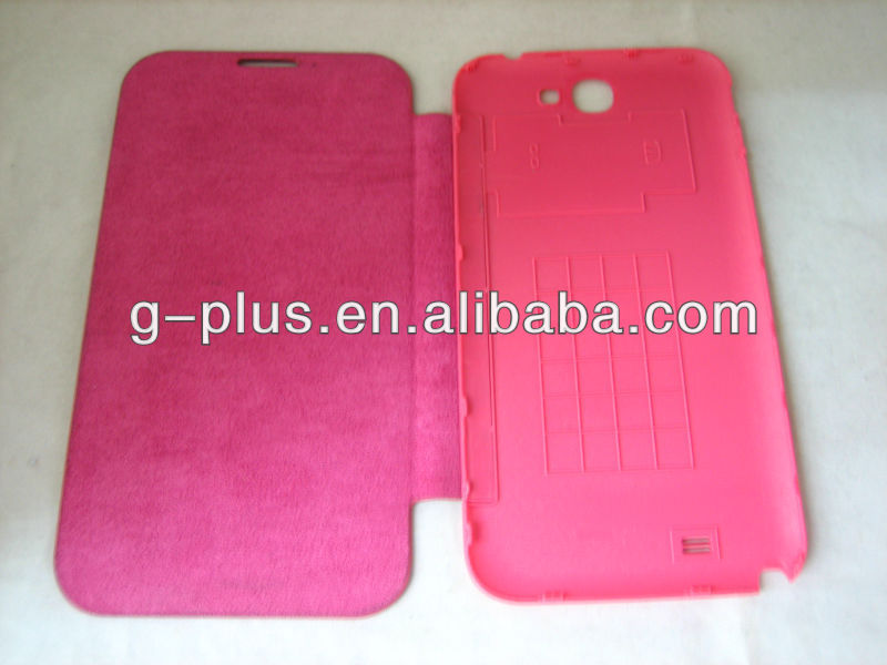 Pink Leather Flip Cover Carrying Case Pouch for Samsung Galaxy Note II 2 GT-N7100 N7100