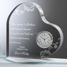 personalized heart crystal clock wedding favor crystal gift