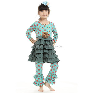 The girls latest spring autumn longsleeve green mustard flower printing tutu ruffle top+pants kids sets baby boutique clothing