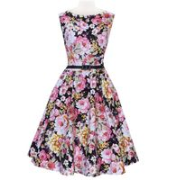 Bestdress walsonrockabilly Women 50s Retro Flower Print Rockabilly Party Ball Gown Pleated Swing Vest Dress S-2XL