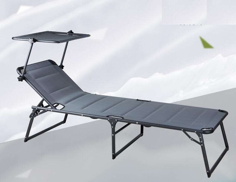 Alum /Steel folding lounge chair with awning Outdoor Beach Chair outdoor lounge