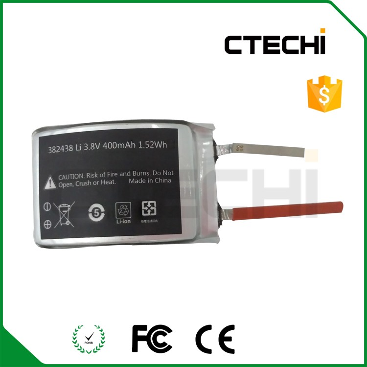 Special shaped ultra thin li-ion polymer battery 382438 3.8V for Wearable product