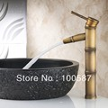 Antique Brass Tap Fashion Basin Hot and Cold Basin Bamboo Designed 6018