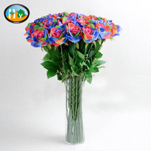 Hot Sale rainbow fabric princess rose artificial flower making for home decoration