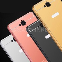 Aluminum metal mirror back bumper phone case cover for huawei 3c