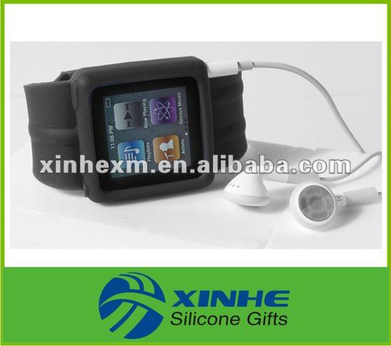 Colorful waterproof black silicone band watch for nano 6