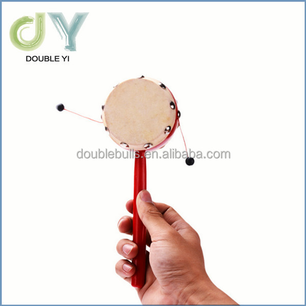 Wooden plastic rattle baby educational hand drum toys