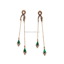 long drop nature stone paved new 2016 latest gold earring designs