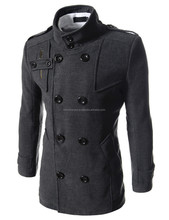 Mens Luxury Double Breasted High Neck Wool Coat Grey