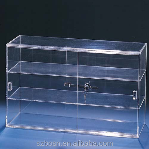 High Quality Sliding Door Acrylic Case With Shelves & Lock, Cheap