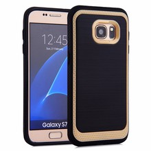 Shockproof brushed tpu+pc hybrid hard phone case cover for samsung galaxy s7 edge