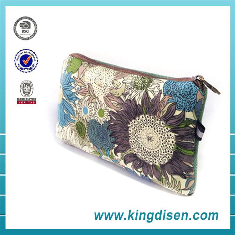 High quality wholesale canvas cotton zipper pouch
