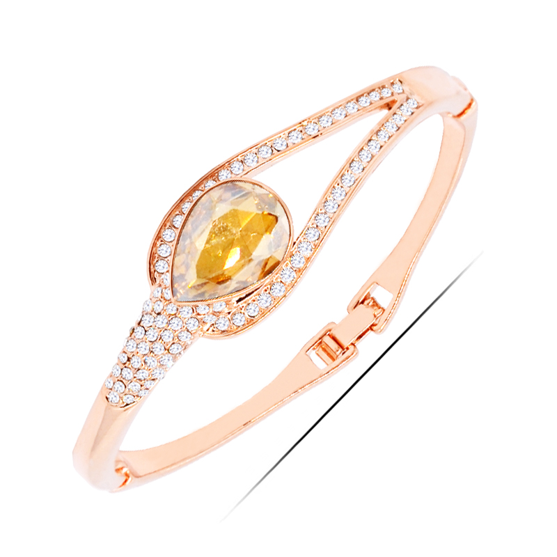 <strong>W124</strong> Austrian Crystal Waterdrop Women Bangle 18K Gold Plated Jewelry 2017 Latest Design Bangle Wholesale Women's Day Gifts