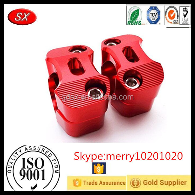 Motorcycle Red CNC Aluminum Handle Bar Clamp Adapter Risers Taper parts