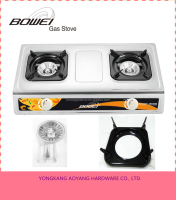 Good Quality 2 Burner Stainless Steel Gas Cooking Stove with Adjusted Pan Support