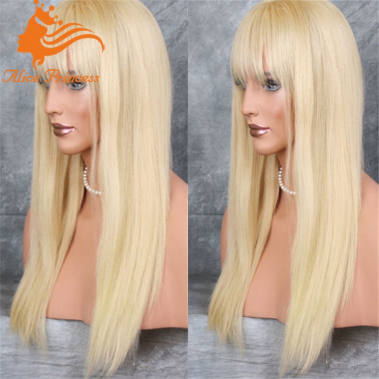 Cheap Human Lace Front Wigs With Bangs 30