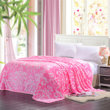 100% Polyester Flannel Coral Fleece Blanket One Ply Adult Queen Size Plaid 200X230CM Bedspread Adult Throw Pink Blankets
