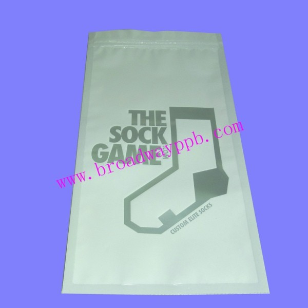 factory printing one side clear reclosable plastic zipper socks packing bags