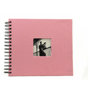 8x8 Elegant Pink Color Spiral Scrapbook Photo Album With Embossed Logo