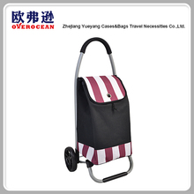 Superb Quality Two Tone Stripe Style 2 wheels shopping trolley bags