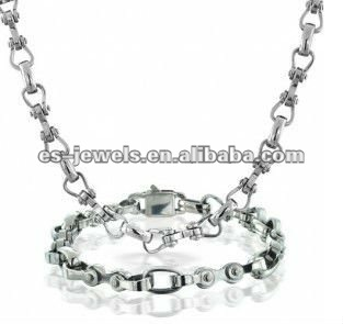 Stainless Steel Open Link Necklace Bracelet Mens Jewelry Set