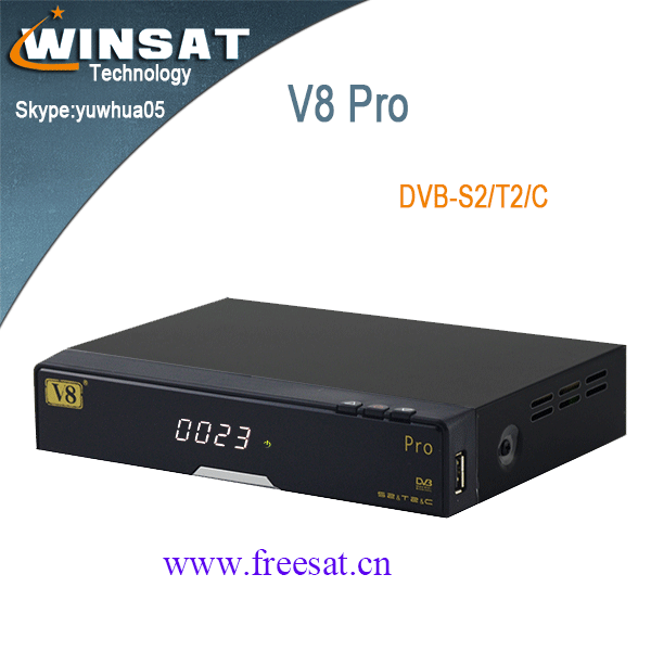 Freesat V8 pro DVB-S2/T2/C free IPTV /satellite receiver with internet connection