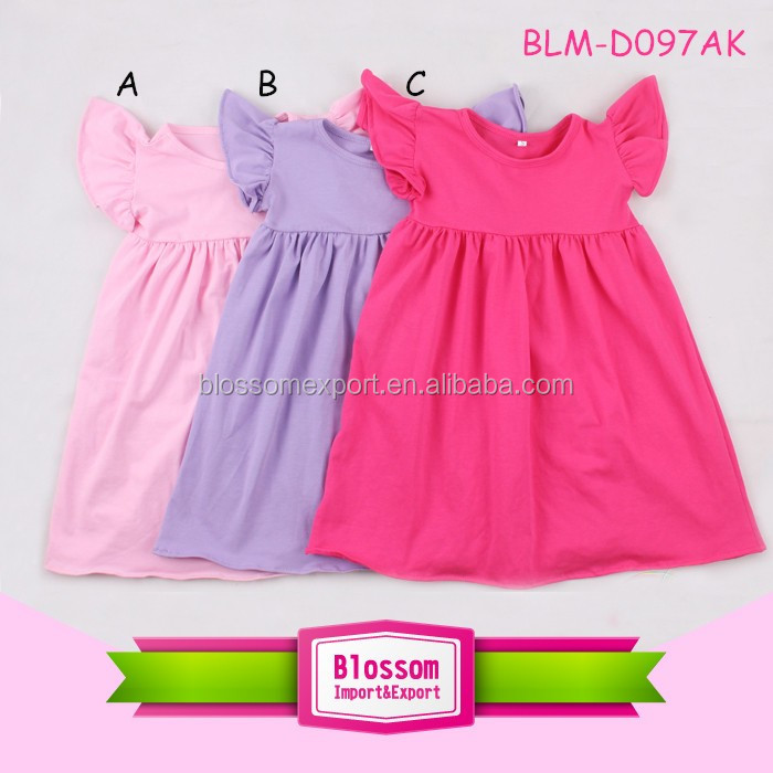 Latest children frocks designs puffy dress withflutter sleeve baby smocked dress for girls of 10