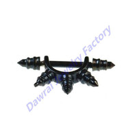 DAR Wide Black Spike Cone Nipple Body Piercing Ring Barbell Jewelry