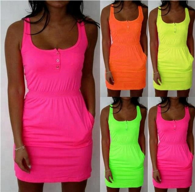 Plus Size Womens Neon Mini Dress Sleeveless Party Tops Summer Beach Dresses