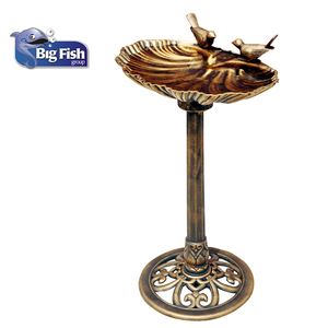 Sitting Pair Bird Bath Antique Gold Plastic Pedestal Outdoor Garden Decor Bird Bath