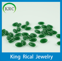 Wholesale oval cabochon green glass gemstone for ring