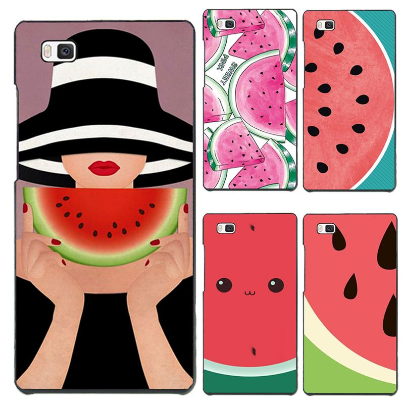 P9Lite Hard PC Phone Cover Cases For Huawei P9Lite Case Phone Shell A Woman With Sun Hat Eating Watermelon