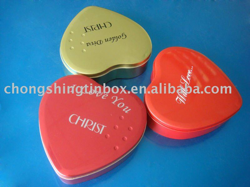 colorful heart shape chocolate tin box