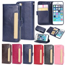 Newest Flip PU leather Wallet protective Cover Case For Iphone5 5S