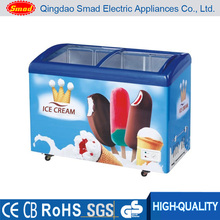 Curved glass door display ice cream chest freezer for supermarket