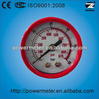 Red plastic 40mm common miniature pressure gauge
