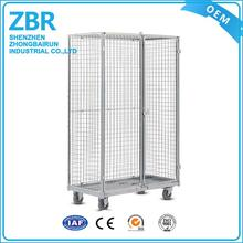 Powder coated roll container wire mesh cart used metal rolling security cage/supermarket trolleys