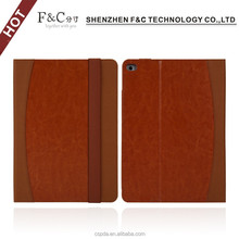 2015 different material combination cover design for ipad air 2 leather case,card slots and elastic cover for ipad 6
