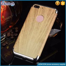 Hot sale electroplated frame wood pattern plastic phone case for iphone 7 plus
