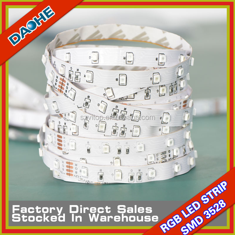 Wholesale LED Flexible Tape SMD 3528 60Led/m No-waterproof Strip Light DC12V RGB White Warm White Blue Red Green